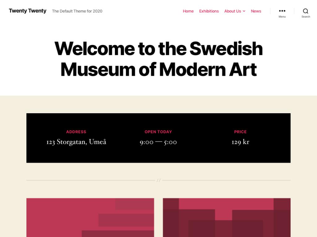 Screenshot for the Twenty Twenty default WordPress theme
